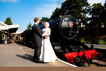 wedding image - steam train